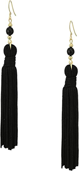 Polished Gold/Black Bead and Tassel Fishhook Earrings
