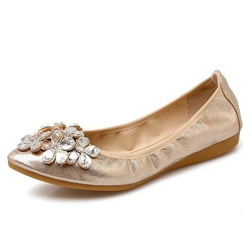 51745b4f0b47 Meeshine Womens Foldable Soft Pointed Toe Ballet Flats Rhinestone Comfort  Slip on Flat Shoes