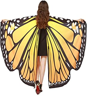POQOQ Wings Shawl Women Butterfly Scarves Ladies Nymph Pixie Poncho Costume