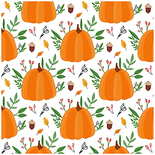 HaokHome 93058 - Papel pintado decorativo (45 x 299 cm), diseño de calabaza, color blanco, naranja y verde