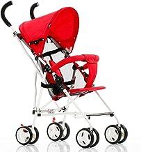 Yyqx Sillas de Paseo Plegable Ligero del Cochecito de bebé for el Plano de Viaje Ultra-luz del Carro de bebé Cochecitos de niño for recién Nacidos for niños Cochecito de bebé (Color : Red)
