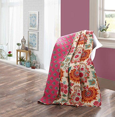 Asvert Quilt Tagesdecke 100% Baumwolle Bettüberwurf Steppdecke Patchwork Bettdecke (180 x 220 cm, Rosa)
