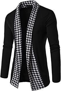 WM & MW Fashion Men's Cardigan Slim Fit Long Sleeve Lapel Houndstooth Patchwork Open Front Shawl Tops Coat Outwear