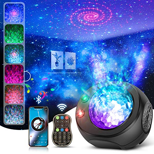 Galaxy Star Night Light Projector, 3 in 1 Starry Projector with Bluetooth Speaker&Remote Control for Bedroom Ceiling, Skylight Projector with Timer Kids Adults Gift, Sync to Music, Nebular Ocean Wave