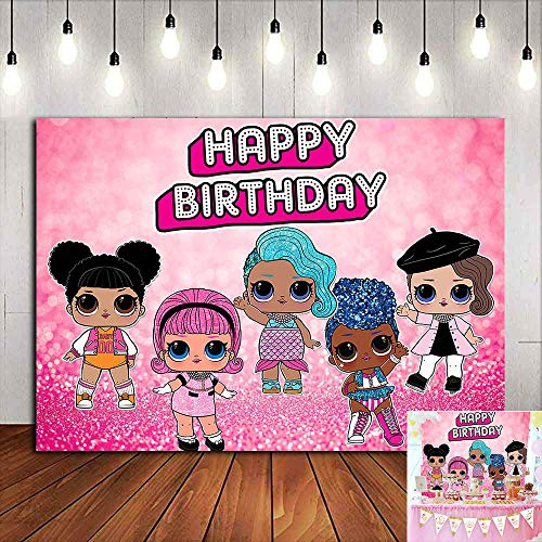 Pink Bokeh Sequin Glitter Photography Backdrop Baby Girls Happy 2nd Happy Birthday Party Decorations Sweet Pink Cartoon Girl Doll Toy Photo Background Vinyl 5x3ft Cake Table Photo Booth Supplies