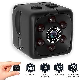 LEEBA SQ11 Mini cámara 【2018 Secret Micro cámaras】 1080P HD visión Nocturna Oculta cámara espía vigilancia para el hogar/Coche/Drone/Oficina Seguridad Video Loop grabadora (1 Pulgada cúbica)