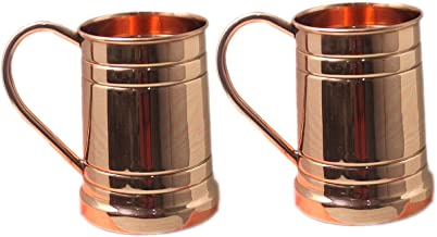 Pure Copper Beer Mugs Unique Tankard Look Handmade Solid and Pure Copper Beer Stein No Lining Ice Cold Beer Moscow Mules Capacity 20 Ounce Pack of 2