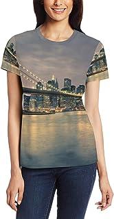 XiangHeFu T-shirt voor vrouwen meisjes City Building Bridge Custom korte mouw