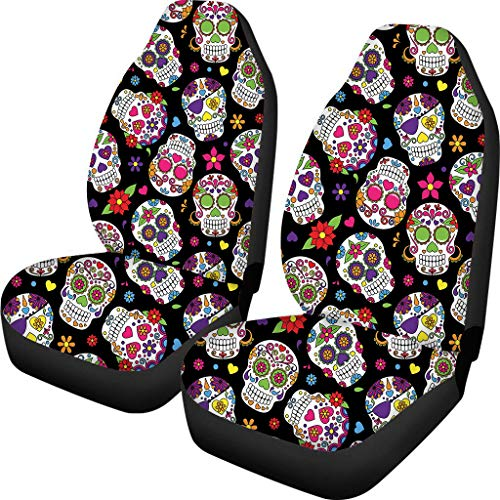 PZZ Sugar Floral Skull Floral Front Seat Covers 2 pcs,Vehicle Seat Protector Car Mat Covers, Fit Most Cars, Sedan, SUV, Van