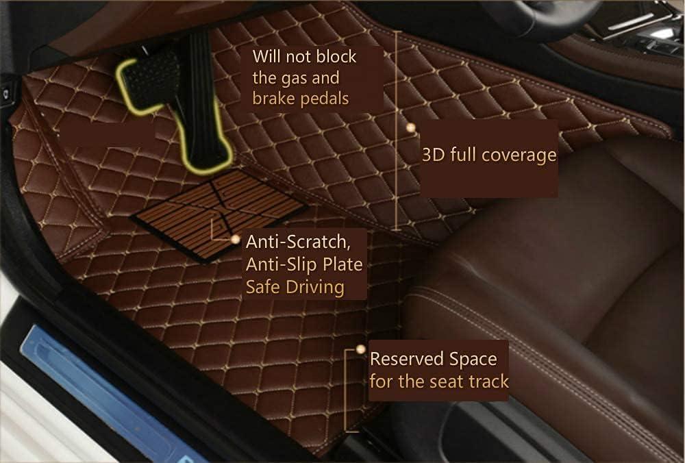 ZPXJSM Custom Making Car Floor Mats for 95% Sedan SUV Sports Car Full Coverage Cute Men Women Pads Protection Non-Slip Leather Floor Liners (Black Beige)