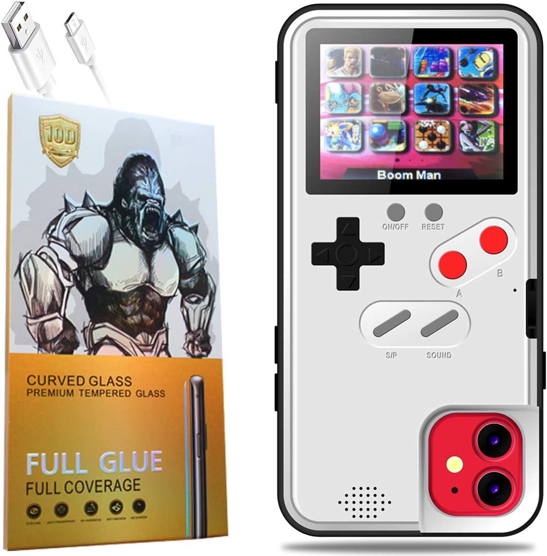 Gameboy Phone Case for iPhone with Clear Glass Screen Protector,Handheld Retro 36 Classic Games,Color Video Display Game Case for iPhone,Anti-Scratch Shockproof Phone Cover (White, iPhone 12 Pro Max)
