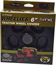 Good Vibrations Wheelies Nitro Series - Riding Lawn Mower Tractor Wheel Covers - Snap Fit to the Rim - 6 inch Diameter (Black) / 2pk