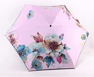 Fashion Light Mini Flower Umbrella Parasol Rain Five Pocket Fold Umbrella for Women Men Anti Zzbiao (Color : Pink)