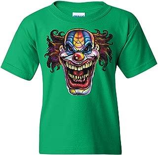 Mad Evil Clown Face Youth T-Shirt Scary Horror Insane Joker Tee