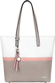Pomelo Best Handtasche Damen Shopper Groß Damen Tasche für Büro Schule Einkauf (Grau)