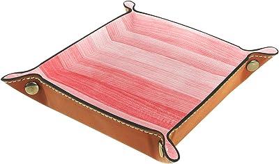 レザーバレットトレイ多目的 収納ボックストレイオーガナイザー小さなアクセサリーの収納に使用,コーラルスタイルの木製