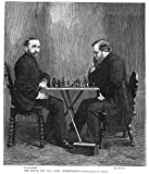 Zukertort Vs Steinitz Njohannes Hermann Zukertort And Wilhelm Steinitz At The Time Of Their Chess Championship Match In New York In 1886 Wood Engraving From A Contemporary American Newspaper