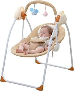 WBPINE Baby Swing Cradle, Automatic Portable Baby Rocker Swing Chair with Music for Boy and Girls (Brown) Without Remote Control
