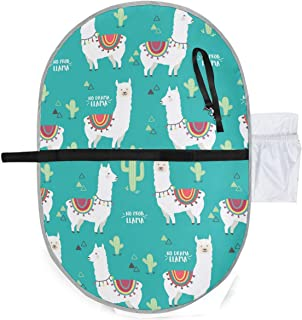 Llama Alpaca Waterproof Baby Changing Pad, Portable Diaper Changing Pad, Diaper Bag Mat, Foldable Travel Changing Station | Stroller Strap,Side Pocket for Wipes Diaper| for Infants & Newborns