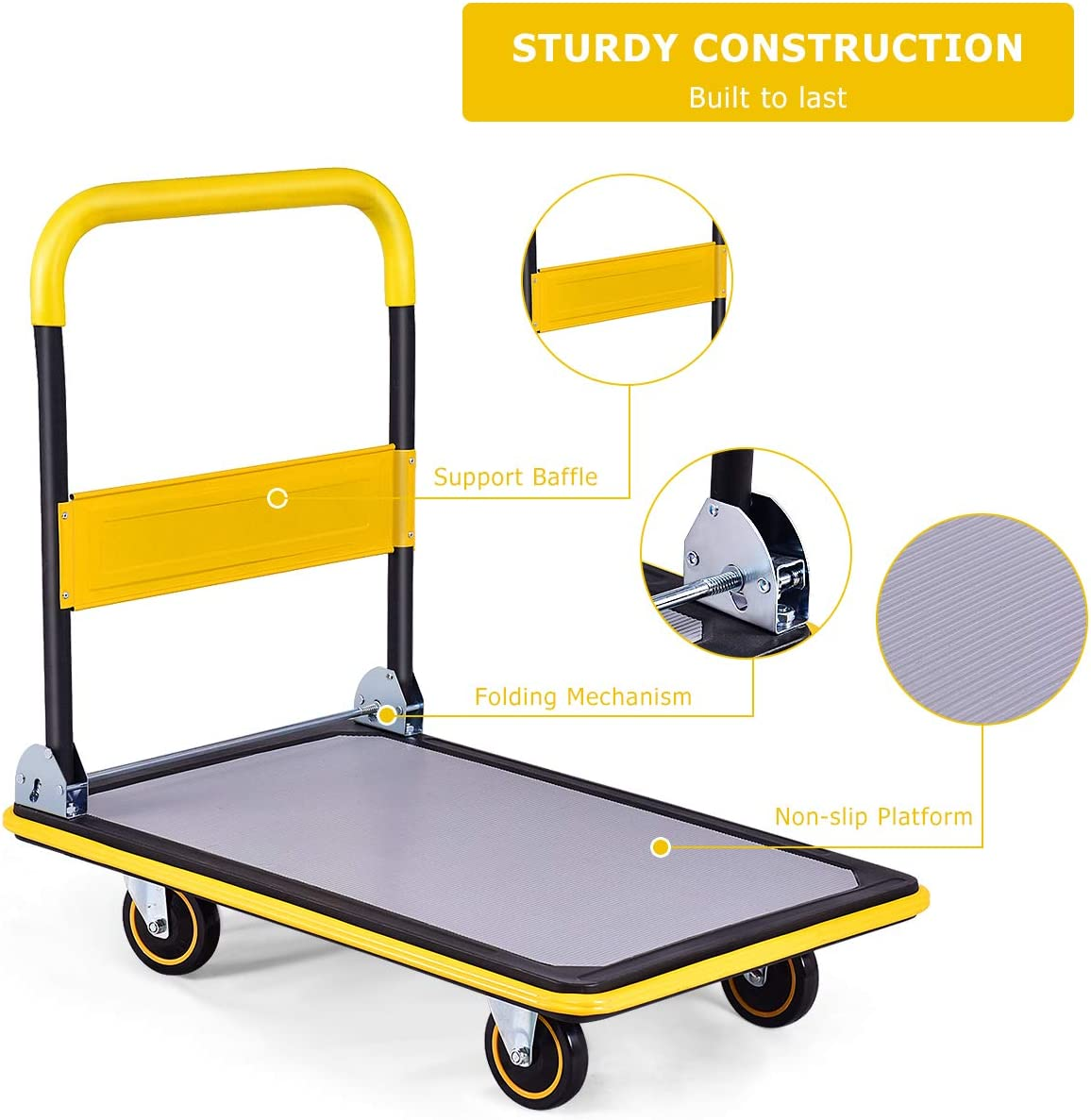 660Lbs Load-Bearing Capacity, Yellow Safstar/Folding/Push/Cart/Dolly,/Rolling/Platform/Cart/for/Garage/Warehouse,/Portable/Flatbed/Cart/with/Non-Slip/Swivel/Casters