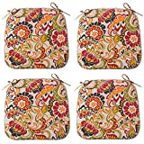 Outdoor Seat Cushions Set of 4, All Weather Chair Pads with Ties, Patio Chair Pads for Office Home Patio Furniture Garden Decoration 16x17 Inch (Paisley)