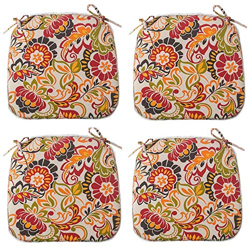 Outdoor Seat Cushions Set of 4, All Weather Chair Pads with Ties, Patio Chair Pads for Office Home Patio Furniture Garden Decoration 16x17 Inch...