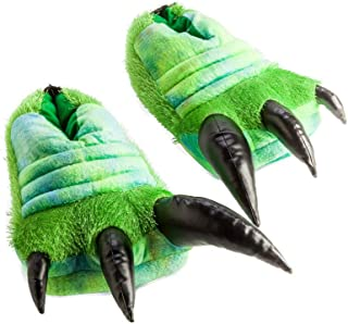 MDI Australia Roaring Dinosaur with Sound Slippers Plush, Green/Black