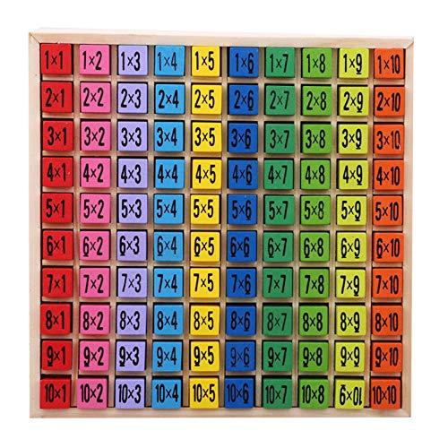 Eleusine Holz Multiplikation & Mathe Tisch Brettspiel, Kinder Montessori Vorschule Lernspielzeug Geschenk für Kinder ab 3 Jahren Holzbausteine