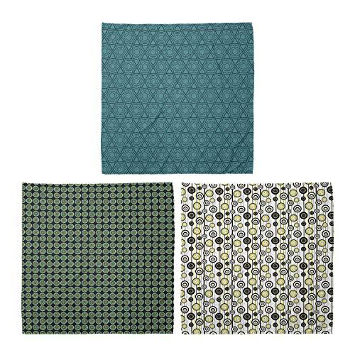 ABAKUHAUS Pack de 3 Bandanas Unisex, Círculos patrones de forma geométrica Boho Doodle Anillo moderno Flores en rayas, Multicolor