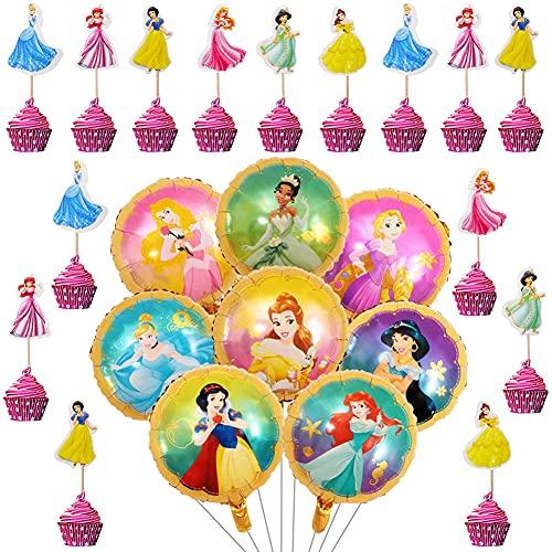 Babioms 32Pcs Princesa Globo, Adorno de Torta, Globos Cumpleaños Decoracion de Princesa ,Globos para Fiestas Temática Princesa, Globo de Papel de Aluminio