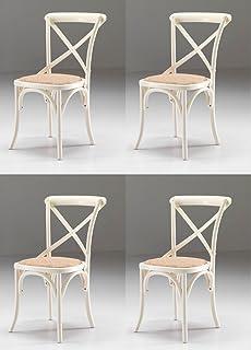 Juego de 4 sillas madera Country Shabby chic vintage, color blanco envejecido OUTLET-precio