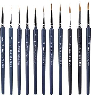 eZAKKA - Juego de pinceles para pintar detalles, pinceles de pintura en miniatura, pinceles para pintura, acrílico, 10 piezas