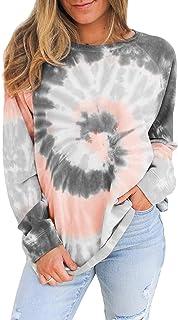 Choha Womens Casual Sweatshirts Tie Dye Long Sleeve Pullover Crew Neck Tunic Shirts Tops