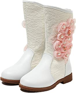 Fancyww Girls Bow high Tube Princess Boots Cotton Shoes