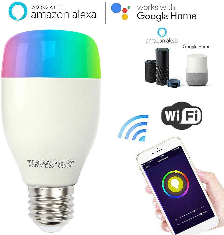 Smart WLAN LED Lampe Glühbirnen E27 Birne RGB Wifi Bulb Glühbirne 650LM steuerbar via App auf IOS&Android, arbeitet mit Alexa und Google Home Fernbedienung von IOS & Android (5 Pack)