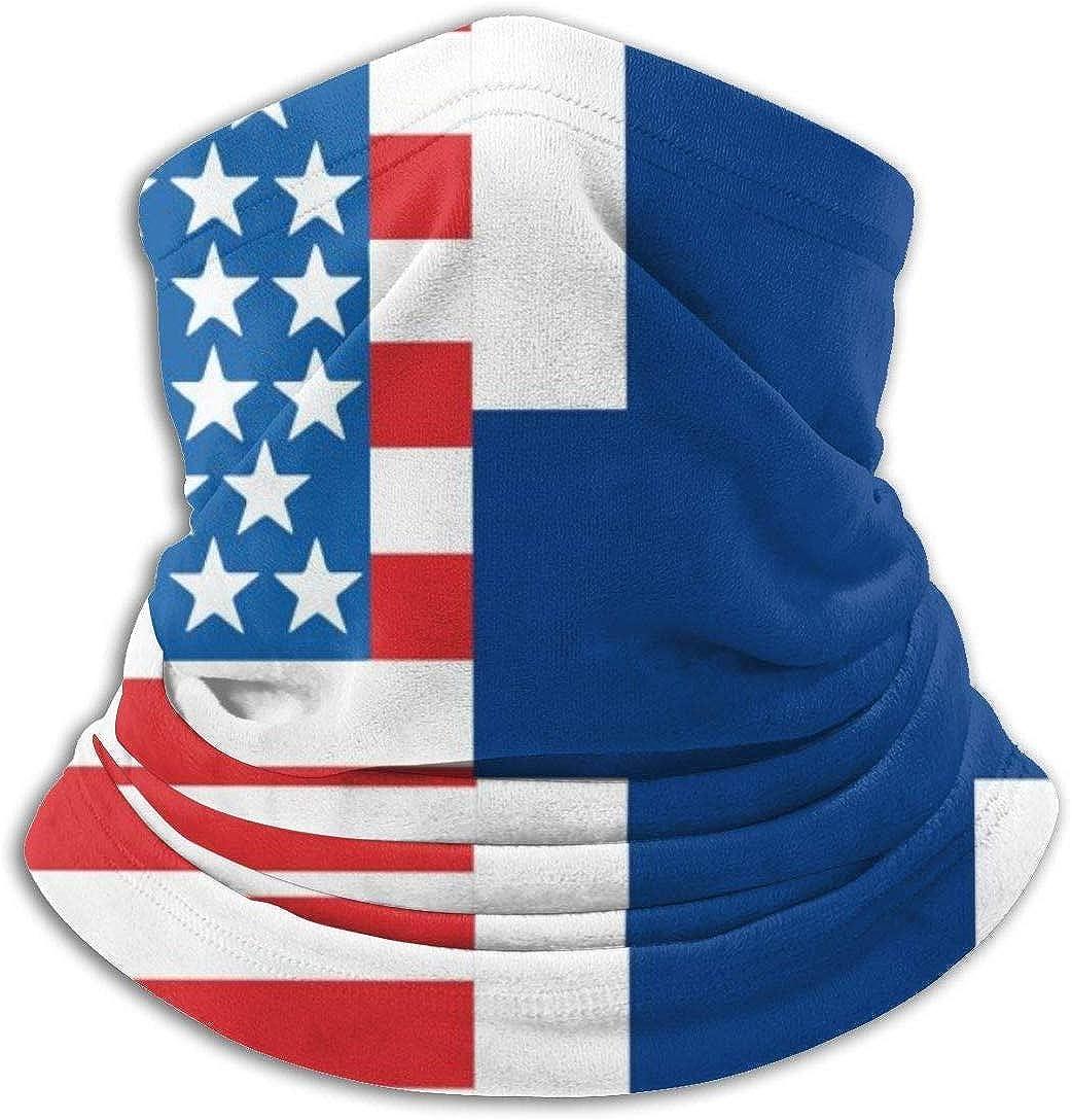 American Flag and Finnish Flag Scarf Neck Warmer Unisex Microfiber Neck Warmer Headwear Face Scarf Mask For Winter Cold Weather Mask Bandana Balaclava
