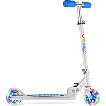 BELEEV V1 Scooters for Kids 2 Wheel Folding Kick Scooter for Girls Boys, CSPC&ASTM Safety Certified, 3 Adjustable Height, PU LED Light Up Wheels for Children 4 Years and up