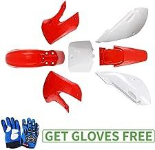 KLX110 Plastic Kit Fairing fender Kit for Kawasaki KX60 Suziki DRZ110 Pit Dirt Bike, Red & White, Blue Gloves
