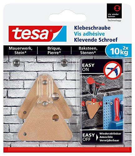 tesa Klebeschraube für Mauerwerk und Stein, Halteleistung 10 kg, dreieckig, 2 Stück