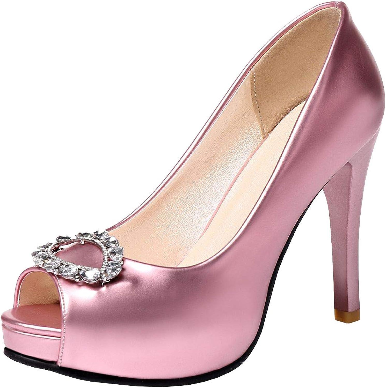 Vitalo Womens Peep Toe Stiletto High Heel Pumps with Rhinestone Platform Wedding shoes