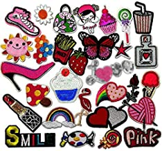 Libiline 30pcs Assorted Styles Girl Pink Embroidered Patch Sew On Iron On Patches Appliques Clothes Dress Plant Hat Jeans Sewing Flowers Applique DIY Accessory (Assorted-Style 3)