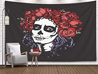 Pamime Wall Art Hanging Tapestry,Home Decor Tapestry Santa Muerte Woman Make up Sugar Skull Girl Face Flowers Wreath Tattoo Dorm Room Bedroom Living Room 80X60 Inches Bedspread Inho,Yellow Blue