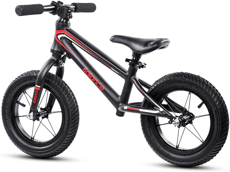 12 inches Balance Bike, Lightweight No Pedal Training Bike Black Adjustable Balance Bike with Carbon Steel Frame Kids Ages 26 Year Olds,Black