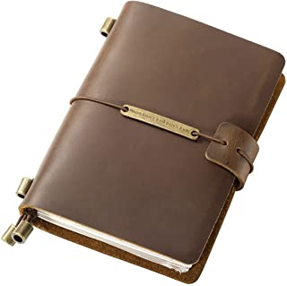 """EiioX Leather Cover Refillable Travellers Journal, 5.3""""L x 4.0""""W Journal Notebook Diary with Inserts and Pockets for Men &..."""