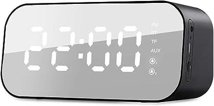 HAVIT 6-In-1 Digitaler Wecker Radio Bluetooth mit 3W Musik Box,Spiegel Tischuhr,5.6'' LED mit Temperatur Anzeige, Dual-Alalrm,3 Helligkeit,Schwarz