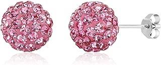 Rhinestones Crystal Ball Stud Earrings Set Fireball Disco Ball Pave Bead Earrings Hypoallergenic for Teen Girls Women 10mm
