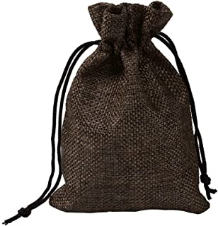 50 Pcs 15x20cm Resusable Drawstring Burlap Bags, Jewelry Pouches Sacks for Wedding Favor Party DIY Craft and Bags,Brown