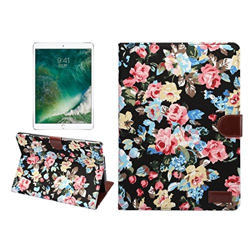 Un known For iPad Pro 10.5 inch Flower Pattern Cloth Surface Horizontal Flip Leather Protective Case with Holder & Card Slots & Wallet & Sleep Accessory Compatible Replacement (Color : Black)