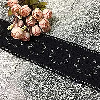 MOPOLIS Cotton Blend Guipure Hollow Lace Trim Ribbon Fabric Doube Edge Embroidered Craft | Color - Black