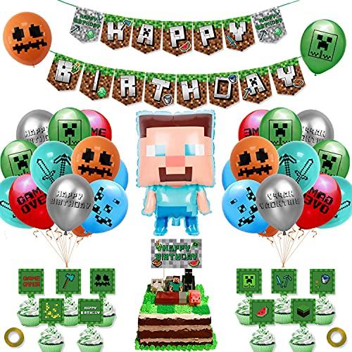 smileh Forniture per Feste a Tema di Gioco Forniture di Pixel Miner Style Gamer Party Incluse Striscioni Palloncini Topper per Torte Nastri Piatti Dorati per Videogiochi